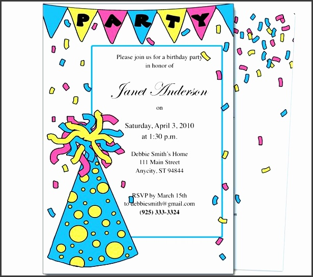 birthday party invite template birthday party invitation template marialonghi free