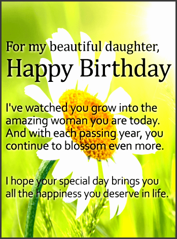 for my beautiful daughter daisy happy birthday wish card