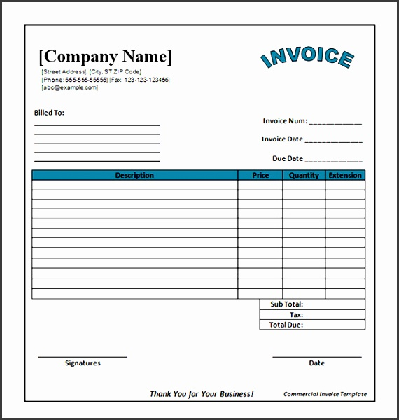 blank mercial invoice template