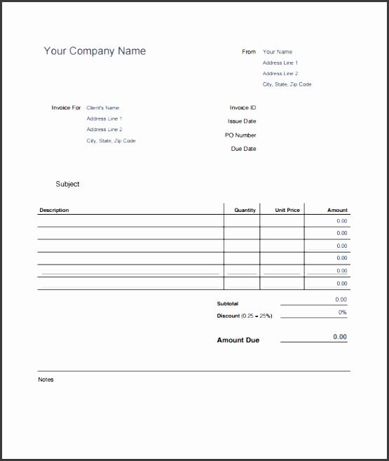 editable blank invoice estimate template in printable pdf format