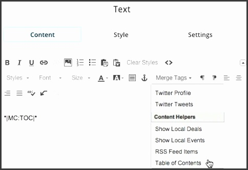 add a table of contents to a campaign mailchimp kb article