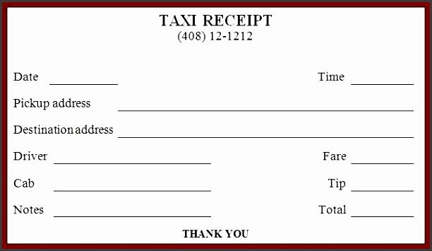 10 Blank Taxi Receipt Template Sampletemplatess Sampletemplatess