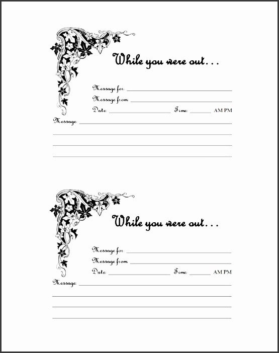 blank while you were out phone message pdf format