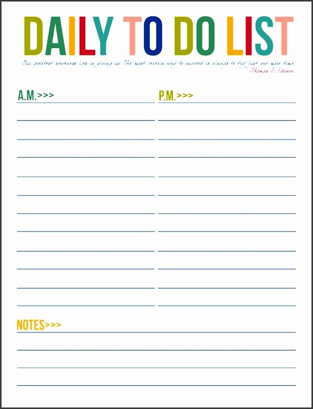 daily printable to do list templates