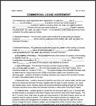 mercial lease agreement view sample