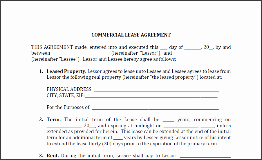 mercial lease agreement 3698