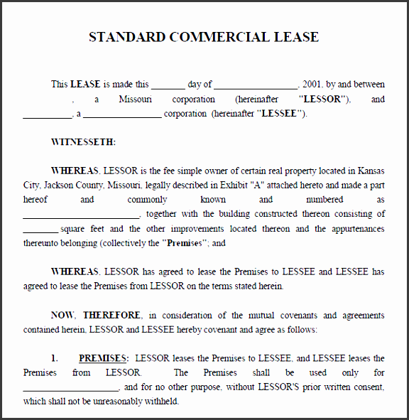 printable sample mercial lease agreement form