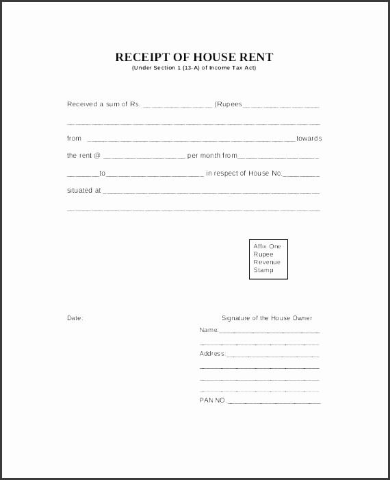 house rent receipt template
