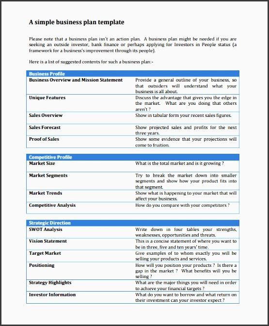 simple business profile template sample business action plan 8 example format templates