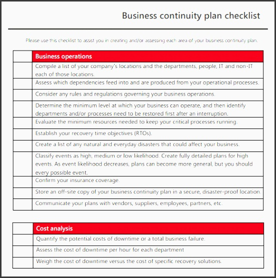 business continuity checklist template sample business continuity plan template 8 free documents in pdf free