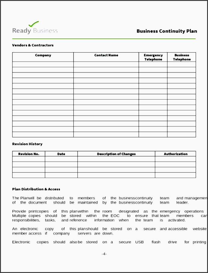 simple business continuity plan template l4