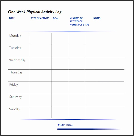 week physical activity log template