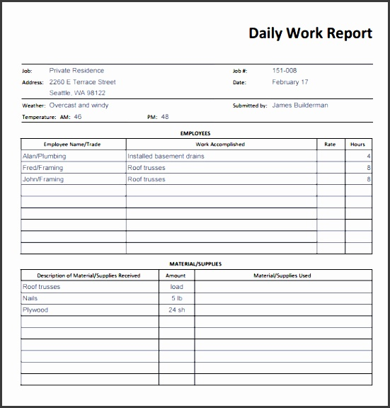 simple business report template daily work report template sample with simple table layout printable