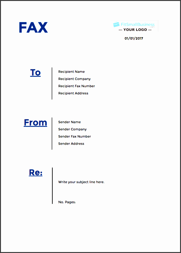 full page fax cover sheet