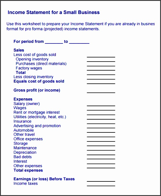 financial statement template for small business sample in e statement 9 documents in pdf word template