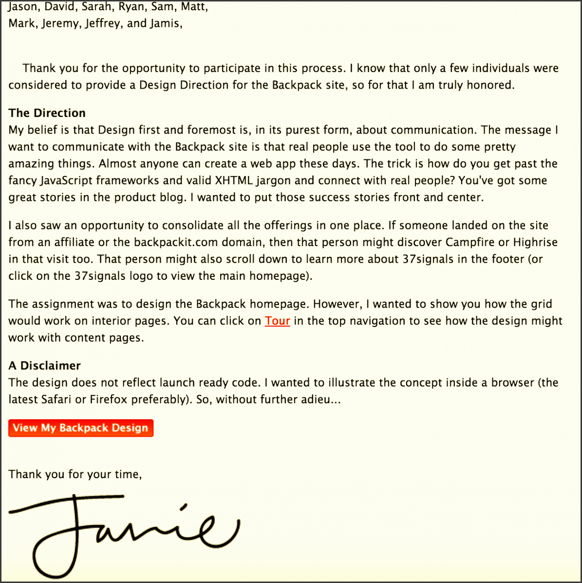 cover letter for a design director at 37 signals