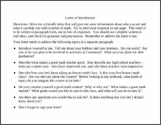 example of introduction of a friendly letter