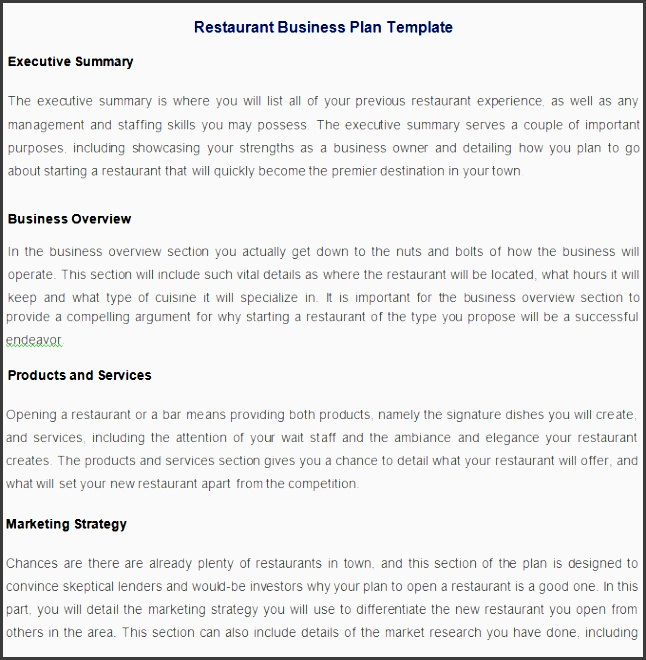 restaurant business proposal template restaurant business plan template free pdf word documents templates