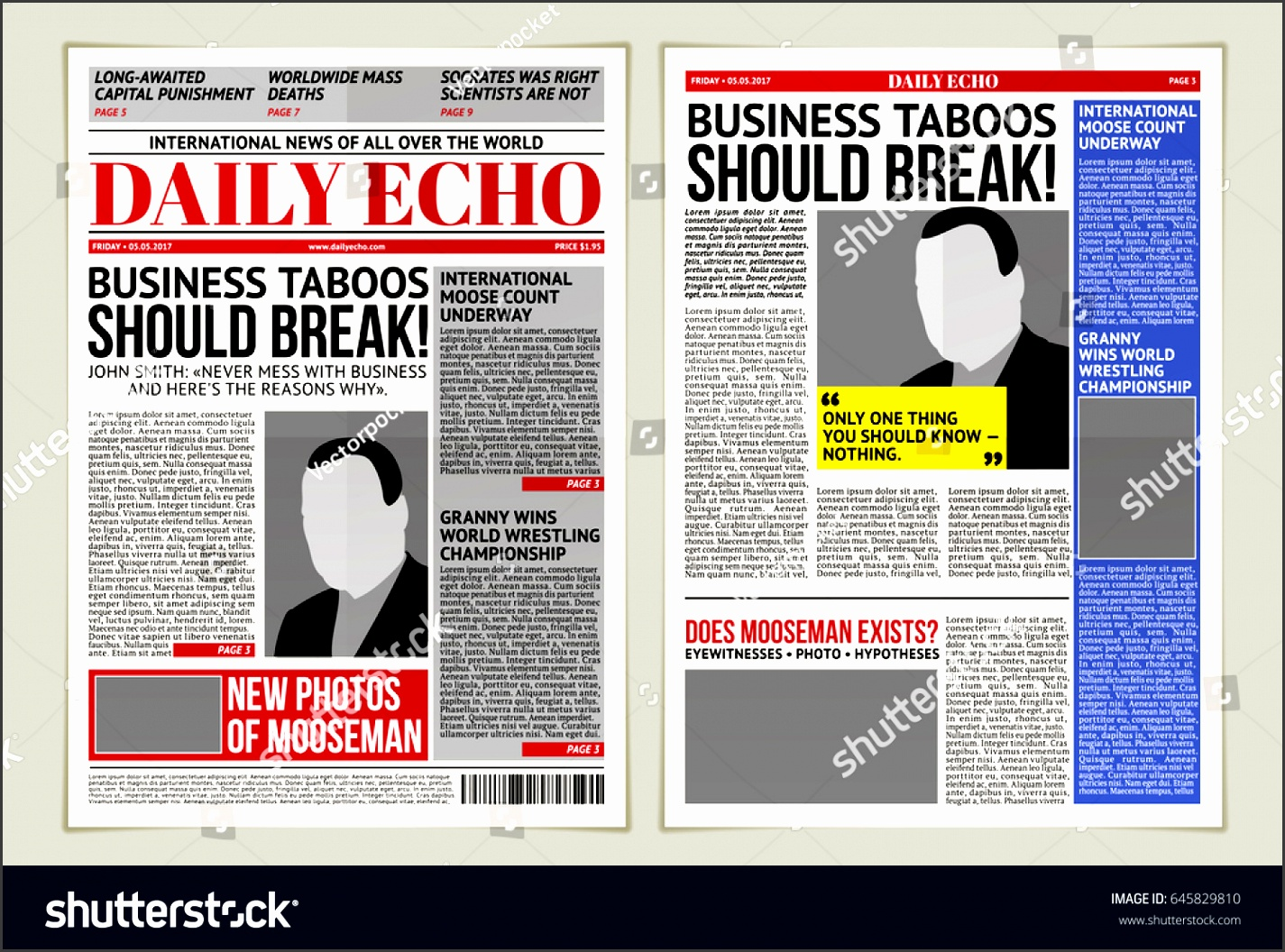 vector illustration of a daily newspaper template tabloid layout posting reportage