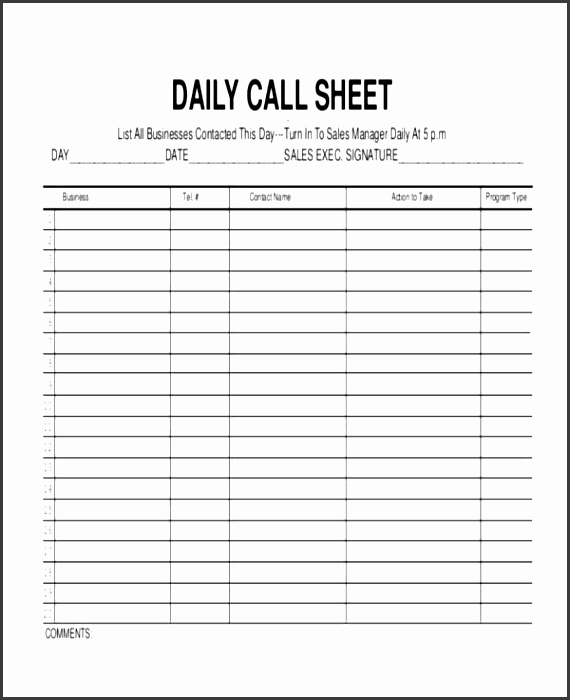 6 business phone log template