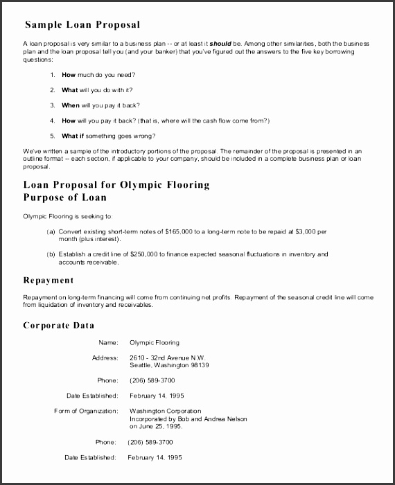 sample proposal letter for a small business loan