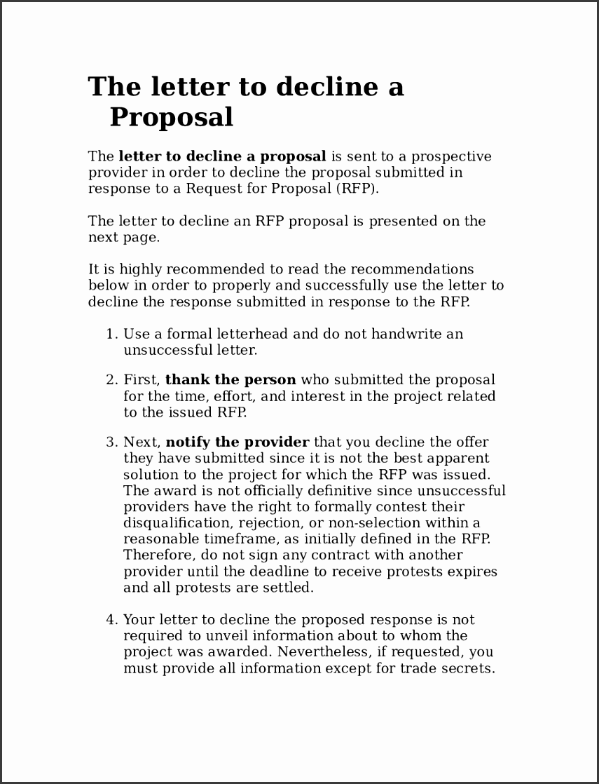 the letter to decline an rfp proposal