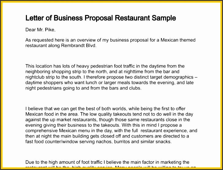 business partnership proposal sample letter of business proposal restaurant sample 131 1