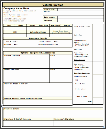 vehicle sale invoice template free business template