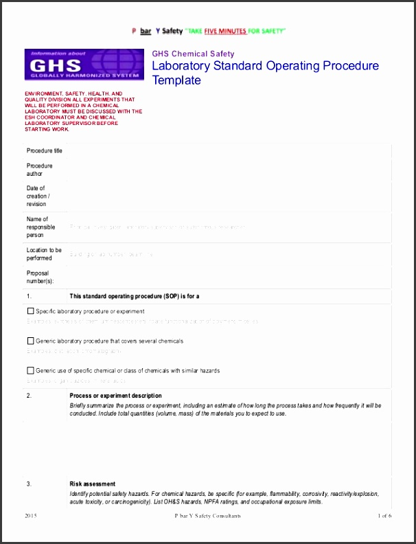 ghs chemsafety template sop standard operating procedure template for small business