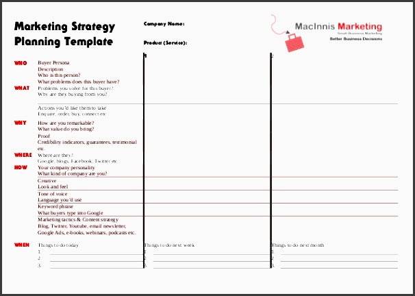 marketing strategy planning template who what pany name product service 1 2