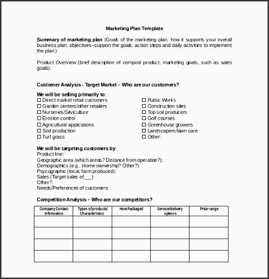 marketing plan template for microsoft word