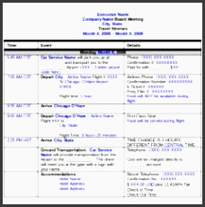 travel itinerary template and planner sample for business trip a part of under business