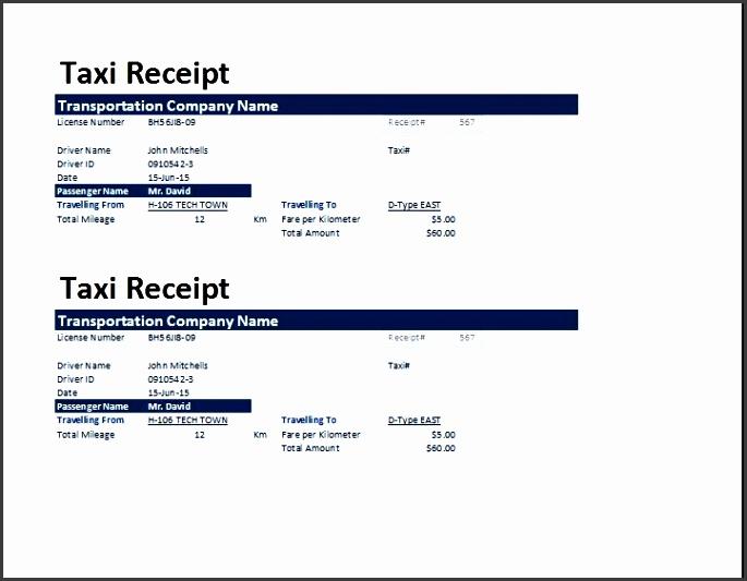 ms excel taxi receipt template receipt templates taxi service bill format