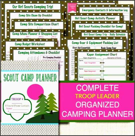 campout planner pack instant troop leader forms event meeting planner brownies daisies junior printable camping trip organizer