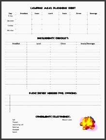 camping menu planning printable