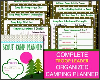 campout planner pack instant troop leader forms event meeting planner brownies daisies