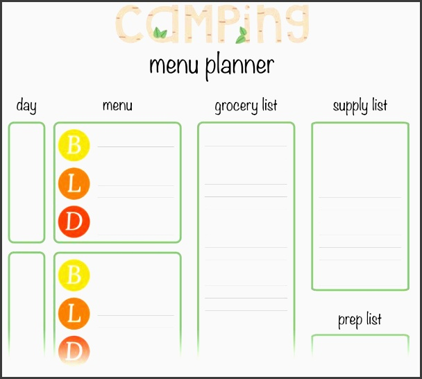 menu planner for camping perfect for weekend trips