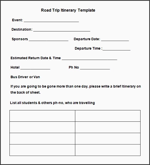 cross country road trip itinerary template free