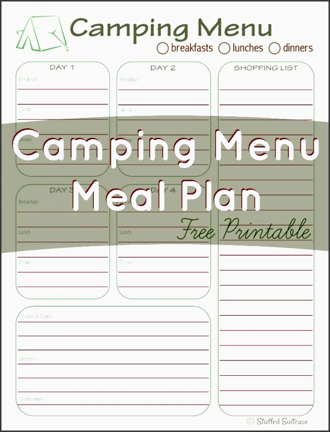 8 camping trip planner template in excel for Camping menu planner template
