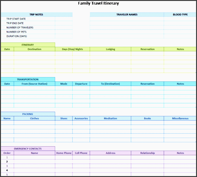 8 camping trip planner template in excel for Trip planning itinerary template