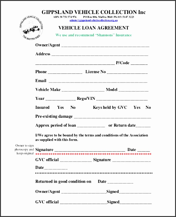 employee car loan agreement form