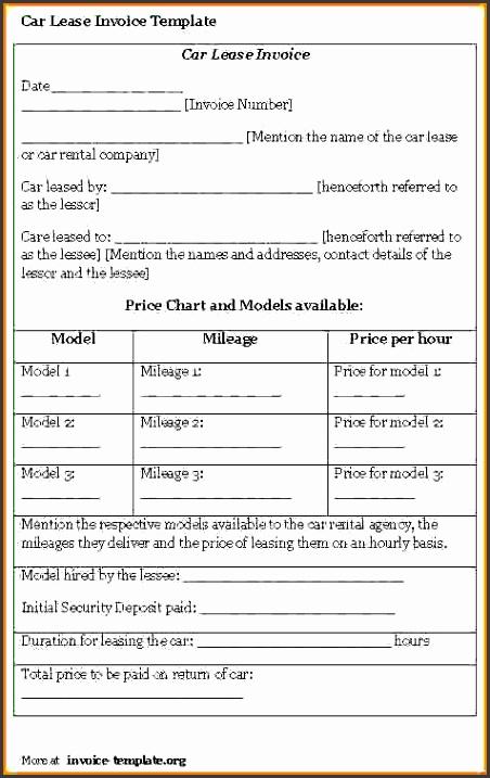 car rental receipt templater lease invoice template