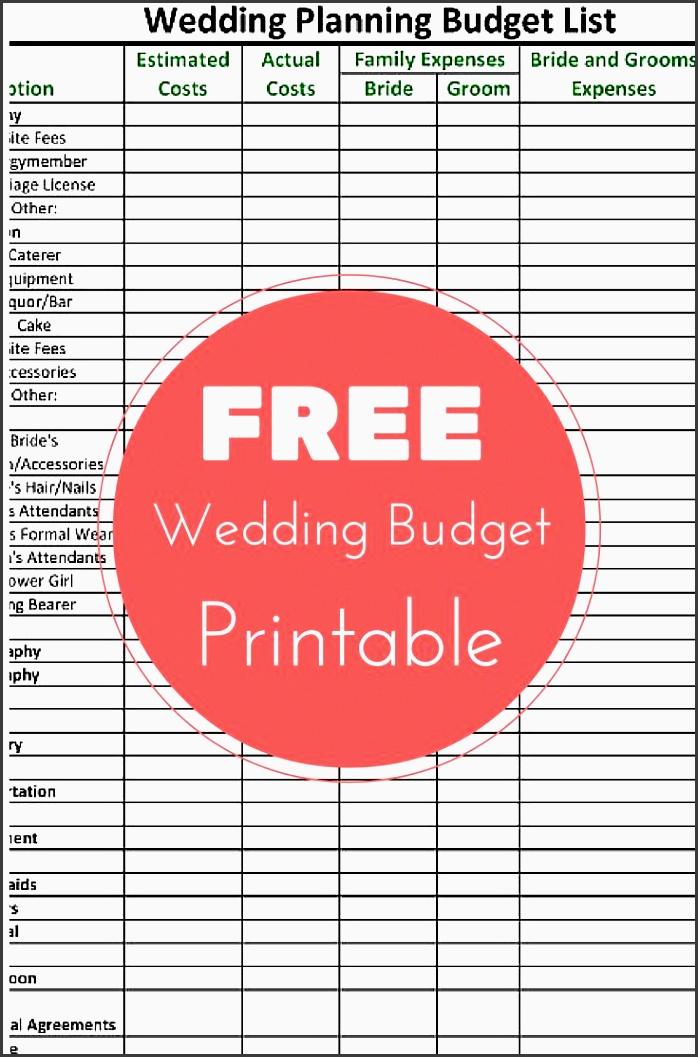 free wedding planning bud checklist printable