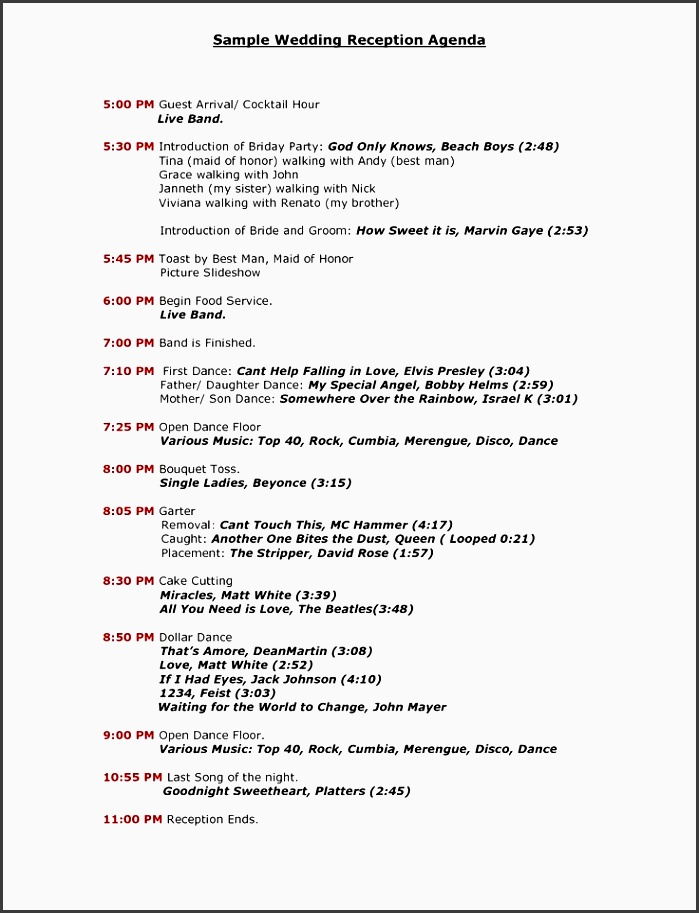 wedding reception program sample templates sample wedding reception agenda pdf