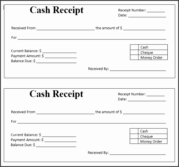 cash payment receipt