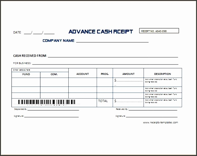 advance cash receipt template