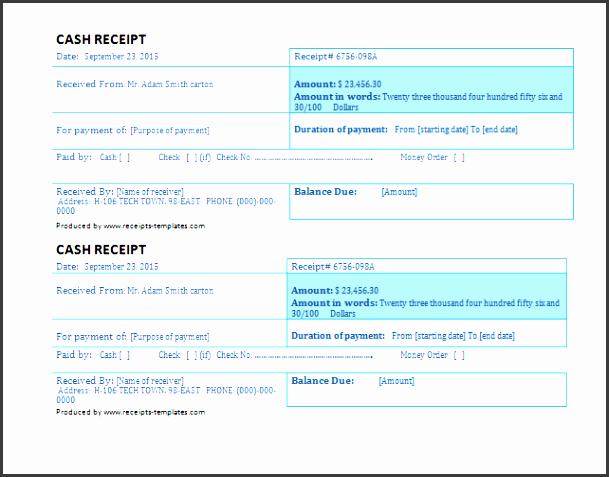 business cash receipt template
