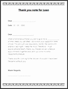 thank you note template for loan