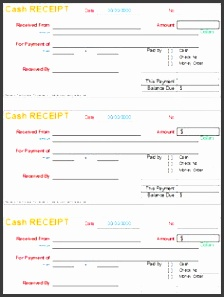 a cash receipt template is a printed document issued whenever a good or service is paid for inform of cash the cash receipt is presented to the er