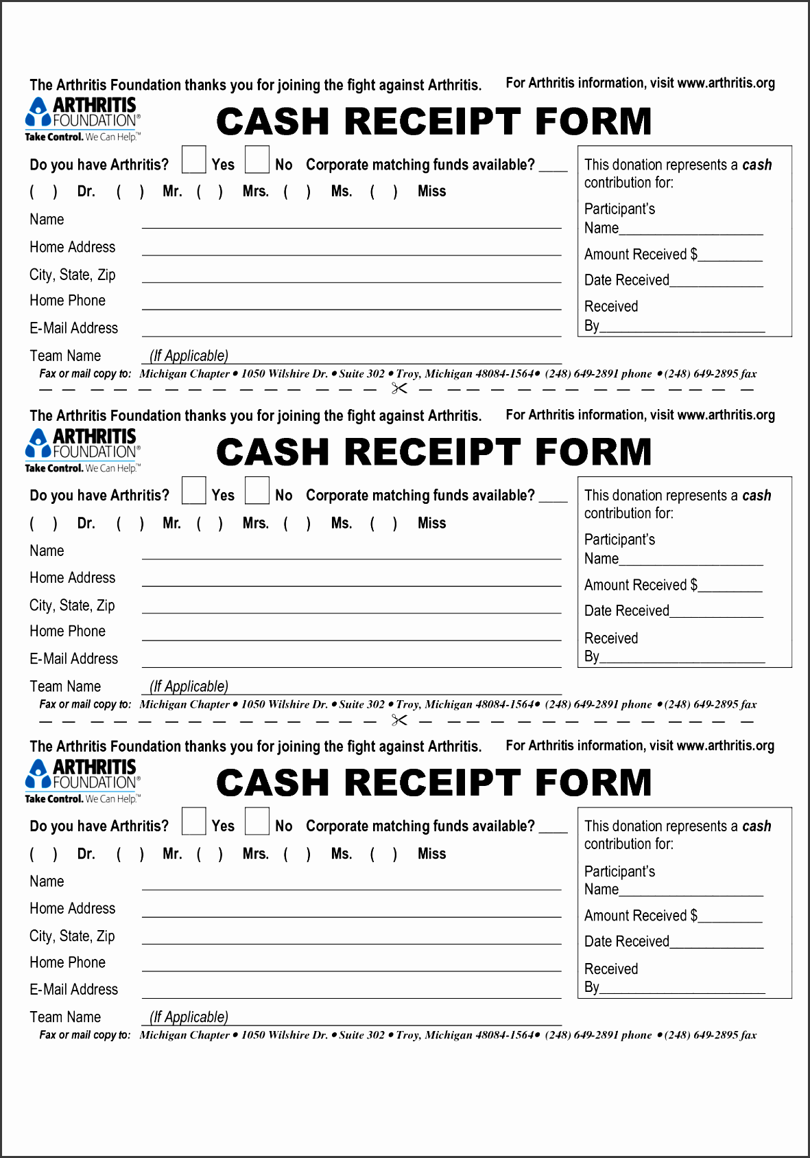 cash receipt form the arthritis foundation thanks by gtl